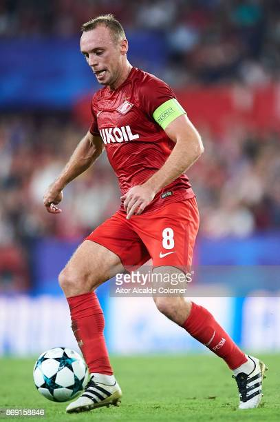 Denis Glushakov of FC Spartak Moskva in action during the UEFA Champions League group E match between Sevilla FC and Spartak Moskva at Estadio Ramon...