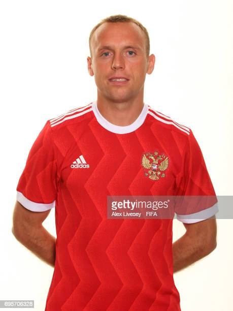 Denis Glushakov of Russia during a portrait session at the Lotte Hotel on June 13 2017 in Moscow Russia