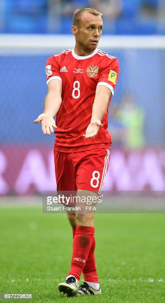 Denis Glushakov of Russia gestures during the FIFA Confederations Cup Group A match between Russia and New Zealand at Saint Petersburg Stadium on...