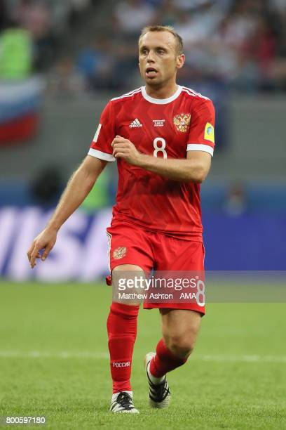 Denis Glushakov of Russia in action during the FIFA Confederations Cup Russia 2017 Group A match between Mexico and Russia at Kazan Arena on June 24...