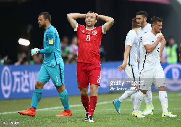 Denis Glushakov of Russia looks on after missing a goalscoring chance during the FIFA Confederations Cup Russia 2017 Group A match between Russia and...