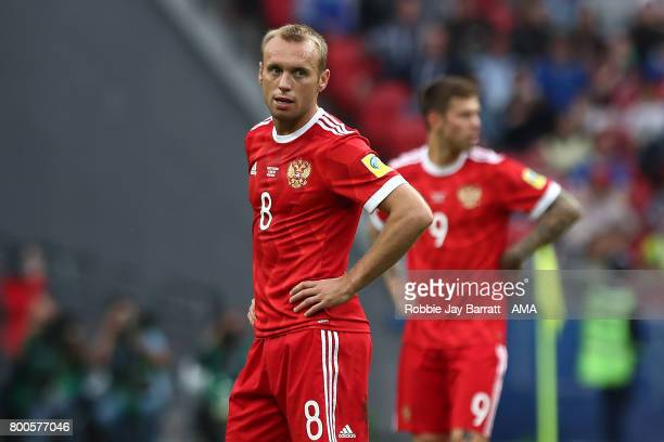 Denis Glushakov of Russia reacts during the FIFA Confederations Cup Russia 2017 Group A match between Mexico and Russia at Kazan Arena on June 24...