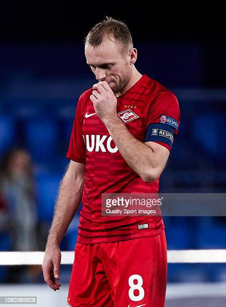 Denis Glushakov of Spartak Moscow disappointed at the end of the the UEFA Europa League Group G match between Villarreal CF and Spartak Moscow at...