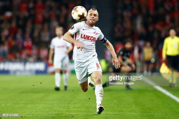 Denis Glushakov of Spartak Moscow during the UEFA Europa League match between Athletic de Bilbao v Spartak Moscow at the Estadio San Mames on...