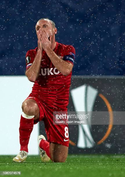 Denis Glushakov of Spartak Moscow reacts during the UEFA Europa League Group G match between Villarreal CF and Spartak Moscow at Estadio de la...