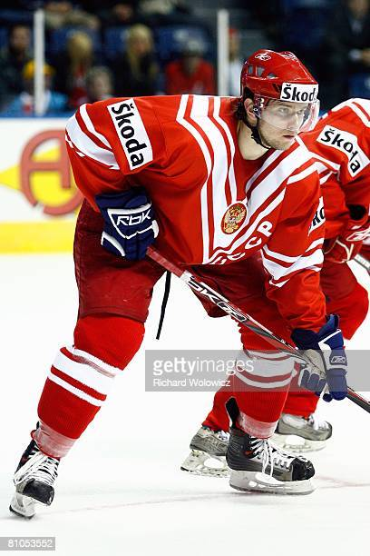 Denis Grebeshkov of Russia stands ready for the faceoff during the game against Italy at the IIHF World Ice Hockey Championship preliminary round at...