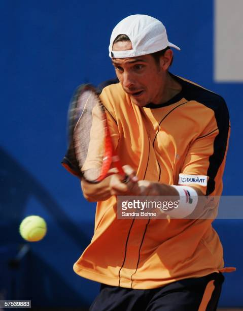 Denis Gremelmayr of Germany returns a shot to Olivier Rochus of Belgium during the fifth day of The BMW Open at the Iphitos tennis club on May 5 2006...