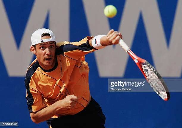 Denis Gremelmayr of Germany serves to Olivier Rochus of Belgium during the fifth day of The BMW Open at the Iphitos tennis club on May 5 2006 in...