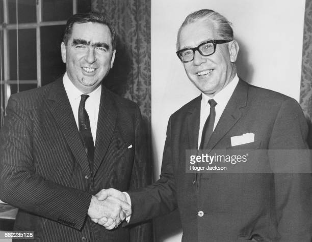 Denis Healey , the Secretary of State for Defence, greets Kai-Uwe von Hassel , the German Defence Minister, at the Ministry of Defence in London,...