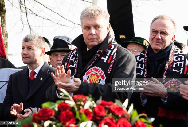Denis Irwin Dieter Reiter Lord Mayor of the City of Munich and KarlHeinz Rummenigge CEO of FC Bayern Muenchen attend a memorial service commemorating...