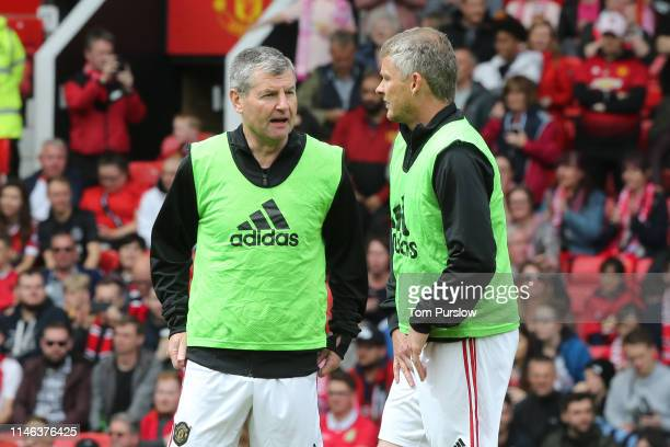 Denis Irwin of Manchester United '99 Legends and Ole Gunnar Solskjaer of Manchester United '99 Legends warm up prior to the 20 Years Treble Reunion...
