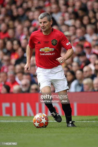 Denis Irwin of Manchester United '99 Legends during the Manchester United '99 Legends v FC Bayern Legends match at Old Trafford on May 26 2019 in...