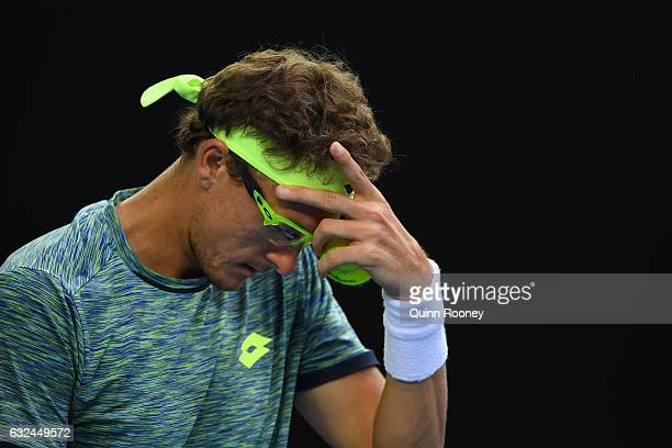 Denis Istomin of Uzbekistan looks on in his fourth round match against Grigor Dimitrov of Bulgaria on day eight of the 2017 Australian Open at...