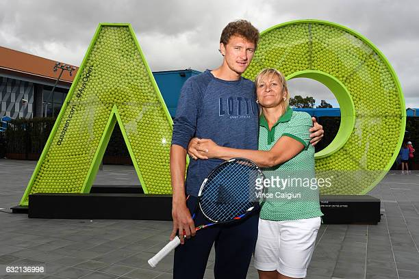 Denis Istomin of Uzbekistan poses with his mother Klaudiya who is also his coach during day five of the 2017 Australian Open at Melbourne Park on...