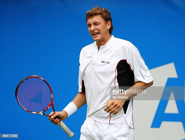 Denis Istomin of Uzbekistan reacts during the men's second round match against Feliciano Lopez of Spain during Day 2 of the the AEGON Championship at...