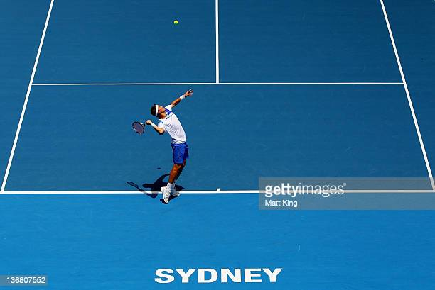 Denis Istomin of Uzbekistan serves in his quarter final match against Richard Gasquet of France during day five of the 2012 Sydney International at...