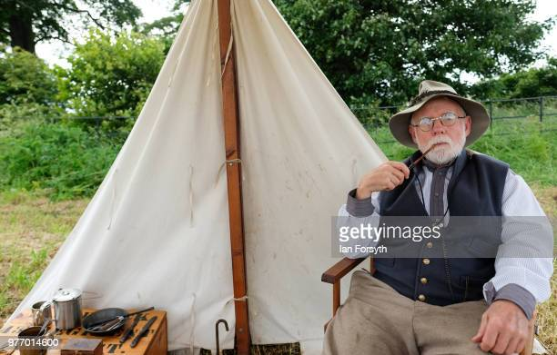 Denis Jarwick from Pittington poses for a pictures as he smokes a pipe depicting life as an officer with the 43rd North Carolina during the American...