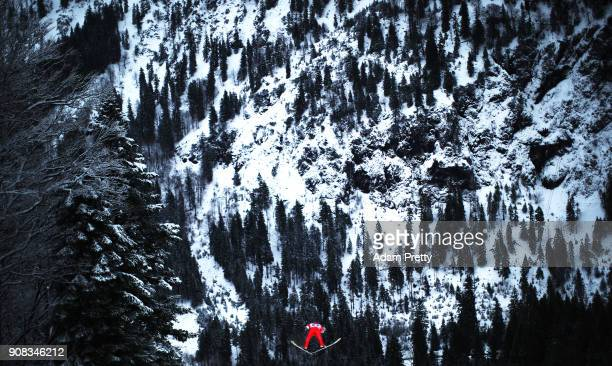 Denis Kornilov of Russia soars through the air during his practice jump before the Flying Hill Team competition of the Ski Flying World Championships...