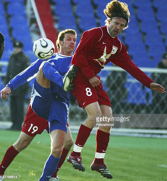Denis Kovba of Krylia Sovetov competes against Scotti Ponce de Leon Andres and Jorgen Jalland of Rubin Kazan during the Russian League Championship...