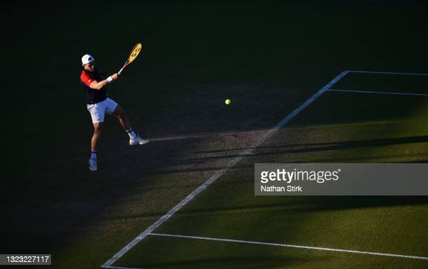 Denis Kudla of United States plays a forehand shot against Kamil Majchrzak of Poland during the men's semi-finals singles match on day eight of the...