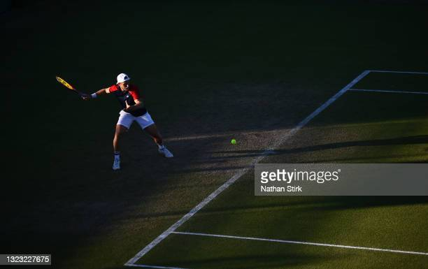 Denis Kudla of United States plays a forehand shot to Kamil Majchrzak of Poland during the men's semi-final singles match on day eight of the Viking...
