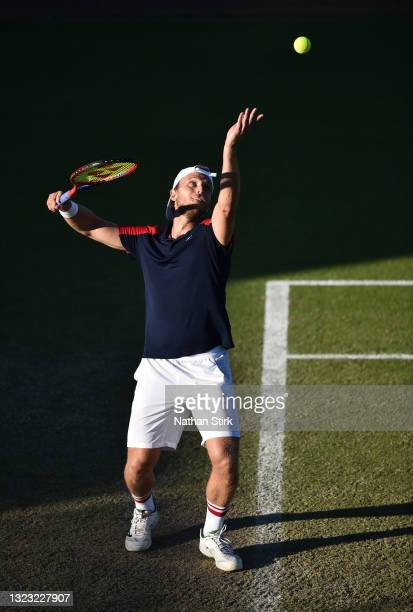 Denis Kudla of United States plays serves to Kamil Majchrzak of Poland during the men's semi-finals singles match on day eight of the Viking Open at...