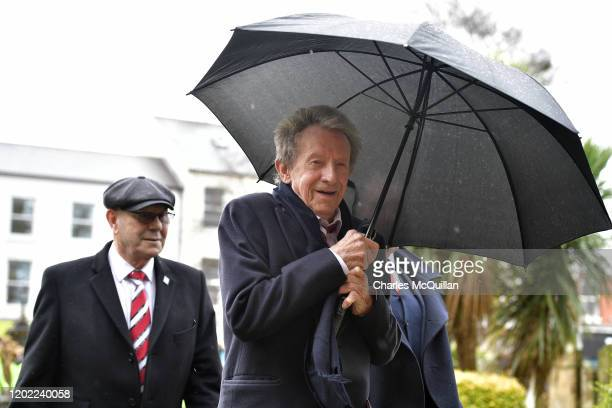 Denis Law arrives at Coleraine Church of Ireland as the funeral of former Manchester United and Northern Ireland footballer Harry Gregg takes place...