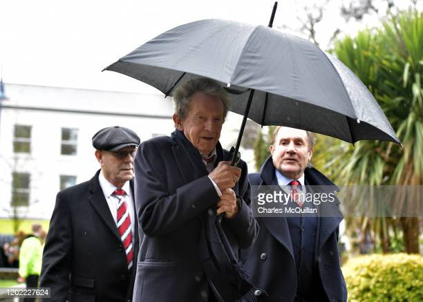 Denis Law attends the funeral for former Manchester United and Northern Ireland goalkeeper Harry Gregg at St Patrick's Parish Church on February 21...