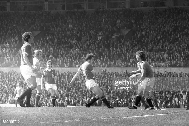 Denis Law formerly of Manchester United puts the seal on his old club's relegation with a backflicked goal for Manchester City in the match at Old...