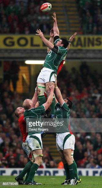 Denis Leamy of Ireland wins lineout ball during the RBS 6 Nations Championship match between Wales and Ireland at the Millennium Stadium on March 21,...