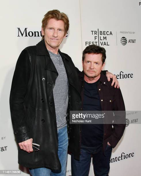 Denis Leary and Michael J Fox attend red carpet for the Tribeca Talks Storytellers 2019 Tribeca Film Festival at BMCC Tribeca PAC on April 30 2019 in...