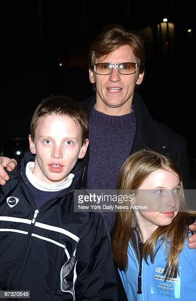Denis Leary is on hand with his children Jack and Devin at the Rockefeller Center rink Celebs turned out to celebrate the premiere of the movie Ice...