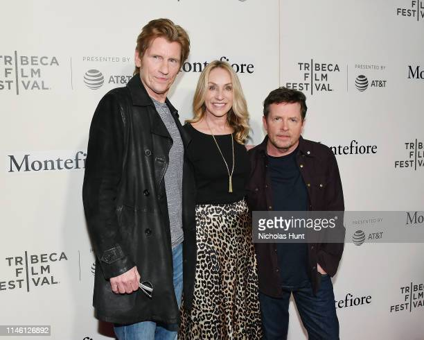 Denis Leary Tracy Pollan and Michael J Fox attend red carpet for the Tribeca Talks Storytellers 2019 Tribeca Film Festival at BMCC Tribeca PAC on...