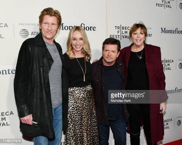 Denis Leary Tracy Pollan Michael J Fox and Jane Rosenthal attend red carpet for the Tribeca Talks Storytellers 2019 Tribeca Film Festival at BMCC...