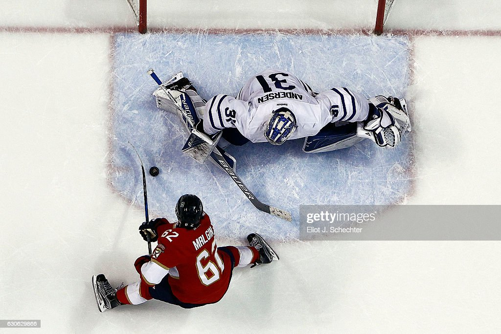 Denis Malgin #62 of the Florida Panthers misses a penalty shot attempt in the third period against Goaltender Frederik Andersen #31 of the Toronto Maple Leafs at the BB&T Center on December 28, 2016 in Sunrise, Florida.