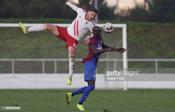 Denis Martins of UD Vilafranquense with Edinho of CD Cova da Piedade in action during the Liga Pro match between CD Cova da Piedade and UD...