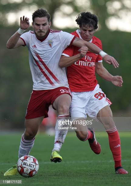 Denis Martins of UD Vilafranquense with Paulo Bernardo of SL Benfica B in action during the Liga Pro match between SL Benfica B and UD Vilafranquense...