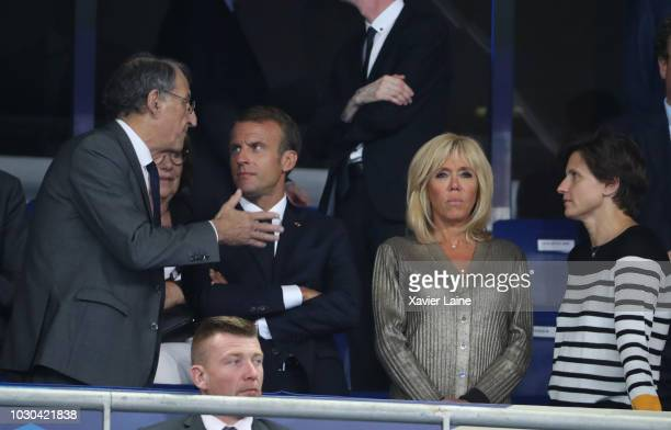 Denis Masseglia French president Emmanuel Macron Brigitte Macron and Roxana Maracineanu attend the UEFA Nations League A group one match between...