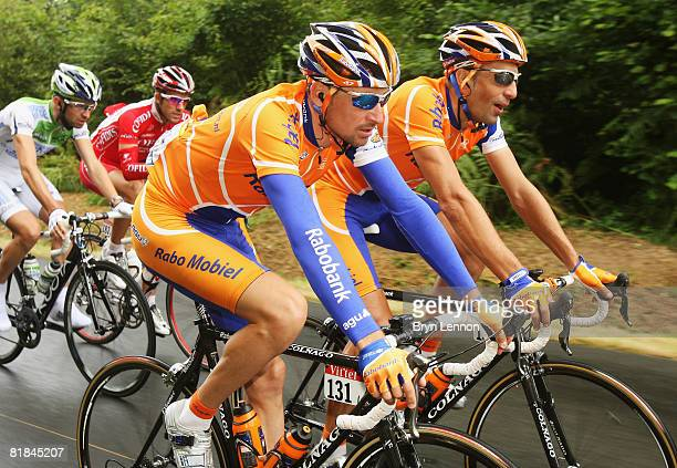 Denis Menchov of Russia and Rabobank rides with his team mate Juan Antonio Flecha of Spain during stage three of the 2008 Tour de France on July 7,...