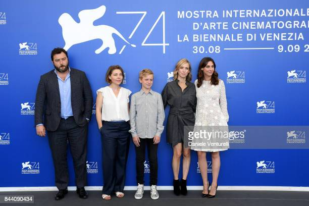 Denis Menochet Sophie Pincemaille Thomas Gioria Lea Drucker and Mathilde Auneveux attend the 'Jusqu'a La Garde' photocall during the 74th Venice Film...