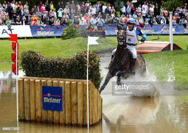Denis Mesples of France rides Oregon de la Vigne during the CIC 4 star cross country at the Messmer Trophy on June 17 2017 in Luhmuhlen Germany