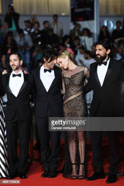 Denis Moschitto director Fatih Akin Diane Kruger and Numan Acar attend the 'In The Fade ' screening during the 70th annual Cannes Film Festival at...