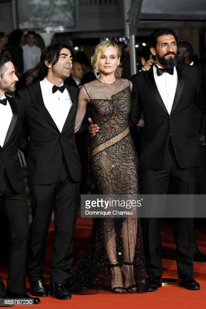 Denis Moschitto director Fatih Akin Diane Kruger and Numan Acar attends the 'In The Fade ' screening during the 70th annual Cannes Film Festival at...