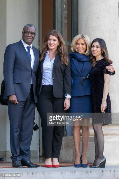 Denis Mukwege, Marlene Schiappa, Brigitte Macron and Nadia Murad attend the first meeting for G7 Advisory committee for Equality between women and...