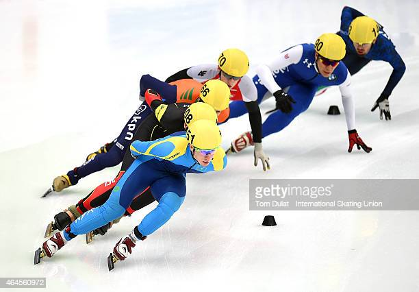 Denis Nikisha of Kazahhstan competes in the Men's 1500m heats during day one of the ISU World Junior Short Track Speed Skating Championships at Osaka...