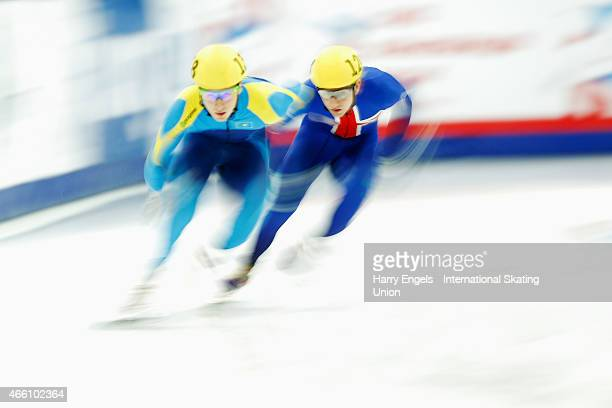 Denis Nikisha of Kazakhstan and Jack Whelbourne of Great Britain in action during the Men's 500m Preliminaries on day one of the ISU World Short...