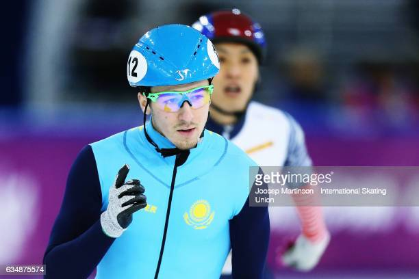 Denis Nikisha of Kazakhstan celebrates in the Men's 500m final during day two of the ISU World Cup Short Track at Minsk Arena on February 12 2017 in...