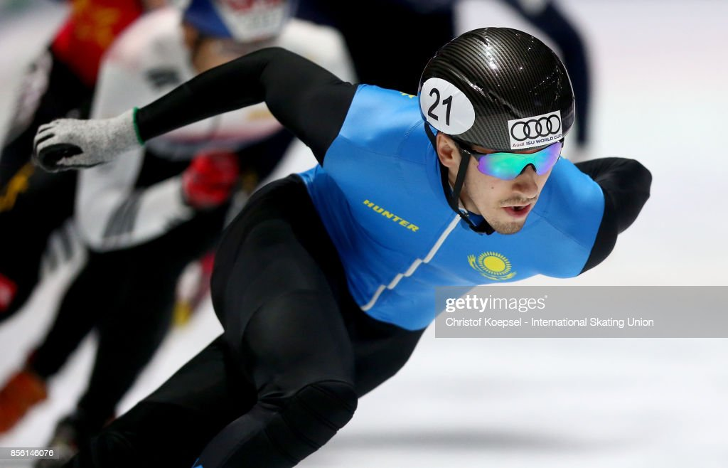Denis Nikisha of Kazakhstan competes during the men 500m quarterfinals heat one during the Audi ISU World Cup Short Track Speed Skating at Bok Hall on September 30, 2017 in Budapest, Hungary.