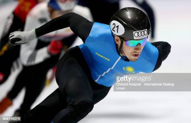 Denis Nikisha of Kazakhstan competes during the men 500m quarterfinals heat one during the Audi ISU World Cup Short Track Speed Skating at Bok Hall...