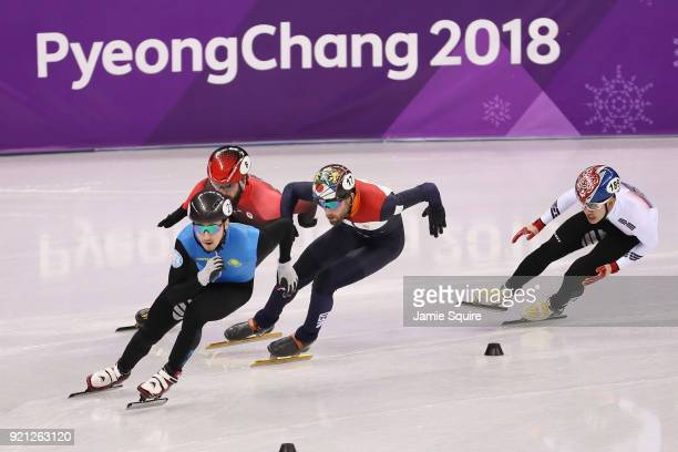 Denis Nikisha of Kazakhstan competes during the Men's Short Track Speed Skating 500m Heats on day eleven of the PyeongChang 2018 Winter Olympic Games...